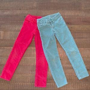 2 pair GAP Kids Girls Super Skinny Corduroy Pants